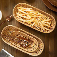 2PCS Wicker Rattan Basket Hand Woven Bread Tray Food Fruit Vegetable Serving