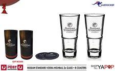 Russian Standard  Vodka Set of 2 x Highball Glasses + 8 Coasters Gift Tubes BNIB