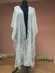 ANTIQUE LACE SHAWL STOLE TAMBOUR EMBROIDERY WHITE COTTON WEDDING VINTAGE EDWARDI