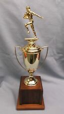 quality fantasy Football trophy solid wood base metal cup cast metal topper