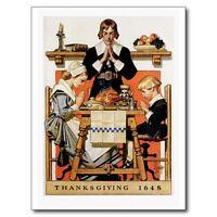 """*Postcard-""""Thanksgiving-""""Pilgrim Family"""" ....Praying Before Dinner- (V-27)"""