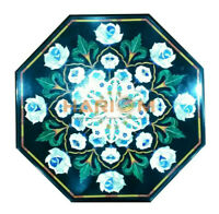 2'x2' Black Marble Coffee Table Top Semi Precious Mosaic Floral Inlay Decor B452