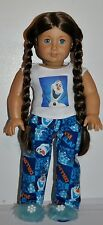 """AMERICAN MADE DOLL CLOTHES FOR 18 INCH GIRL DOLLS DRESS LOT """"OLAF  PJS"""" ONLY"""