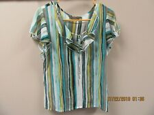 WOMENS TO THE MAX S/S TOP, TURQUOISE AQUA BLACK GRAY LIME, SZ L LARGE