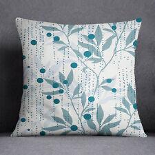 S4Sassy Decorative Cushion Cover Leaf Print White Square Pillow Case