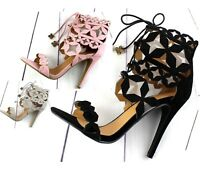 Ladies High Heel Caged Cut Out Gladiator Open Toe Strappy Ankle Sandals Shoes