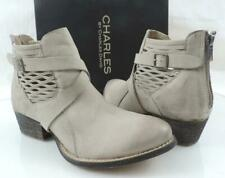 CHARLES by Charles David York Cutout Side Booties Taupe Washed Nubuck Size 8