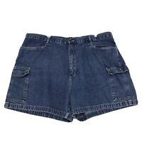 Cherokee Plus Size Denim Cargo Jean Shorts Womens Size 26W Blue Medium Wash READ