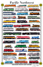 "Trains of The Pacific Northwest 11""x17"" Railroad Poster by Andy Fletcher signed"