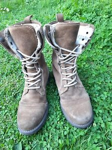 Superdry Union  Combat Roll Up Boots Shoes Brown Leather Suede UK 7 E 41