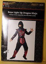 Youth Child Boy or Girl - Light Up Dragon NINJA Costume Sz S (4-6) NEW