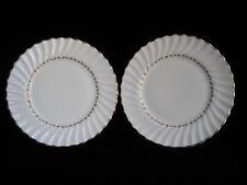 """Vintage Royal Doulton Fine Bone China ADRIAN Pair of 9"""" Plates - white gilt gold"""