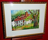 Framed Original Watercolor Painting - Landscape Stone Barn