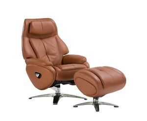 Leather Sofa Recliner Chair Adjustable Luxury Armchair Lounge Tobacco