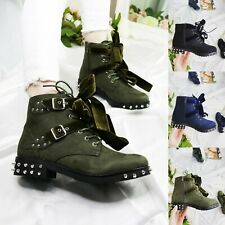 WOMENS LADIES STUDDED LACE UP ZIP PUNK BIKER COMBAT ARMY MILITARY ANKLE BOOTS