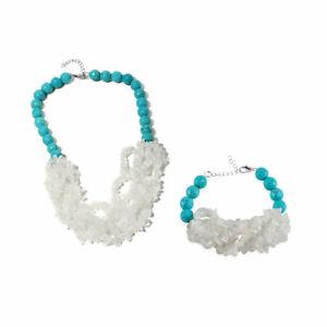 Sparkly White Crystal, Blue Howlite Necklace & Bracelet set Hypoallergenic
