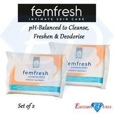 2 x Femfresh Feminine Wipes Intimate Hygiene pH Balanced Pack of 15 (30 Wipes)