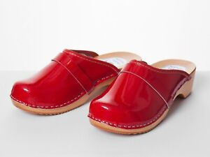 Women's Shiny Clogs Ladies Wooden Sole HandMade Sandal Leather Size 3-8 Red Mule