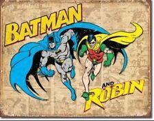 "Batman and Robin Weathered Panels Distressed Retro Vintage Tin Sign 16""x12"" Kids"