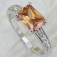Size 5.5 6.5 8 9 10 Hot Nice Citrine Orange Gems Jewelry Gold Filled Ring K566