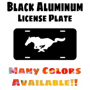 Fits Mustang Pony Black Aluminum License Plate (Different Colors Available