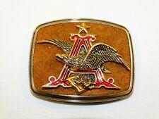Vintage 1979 Belt Buckle Anheuser Busch Star Eagle Letter A Enameled On Suede