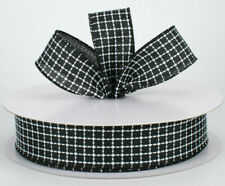 """1.5"""" wired black with white embroidered stitched squares wreath bows 5 yards"""