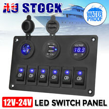 6 Gang 12V switch panel USB Charger ON-OFF Toggle Rocker For Car Boat Marine