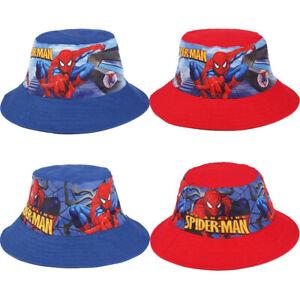 Kids Boys Cartoon Spider-Man Bucket Beach Sun Hat Cap UV Protective Hat Foldable