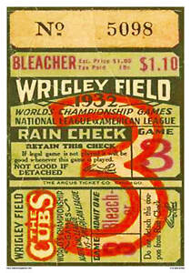 VINTAGE REPRODUCTION SPORTS POSTER 1932 CHICAGO CUBS BASEBALL TICKET