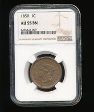 1850-P Braided Hair Large Cent 1C NGC AU 55 Brown (BN)