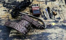 Buckle Guitar Strap Grommet Real Leather Handmade USA Rock Goth Brown Oiled
