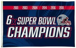 New England Patriots 3x5 Flag Banner 6X Time Super Bowl Champions House Football