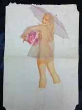 Vintage George Petty Esquire Pin-Up: Girl with Umbrella & See-Through Raincoat