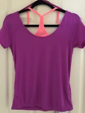 NEW $66 lorna jane fluro Sz XS emily excel SS top shirt purple orange