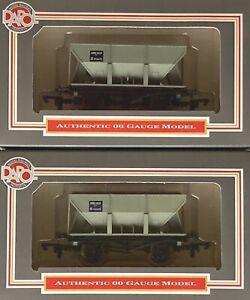 00 Gauge Dapol 2 x B141 24T Ore Hopper in BR Grey #B435475 (Rake of 2) New