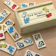 Wooden Farm Animal Dominoes Game Preschool Toy Kids Stocking Filler Xmas Gift