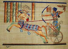 Egyptian Hand-Painted Papyrus Art: Ramesses II Atop Chariot at Battle of Kadesh