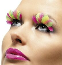 70s 80s Fancy Dress Feather Eyelashes Neon Multi Colour Lashes New by Smiffys