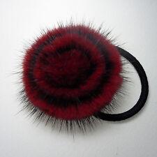 Burgundy Round Real mink fur fluffy pom pom hair scrunchie ponytail holder