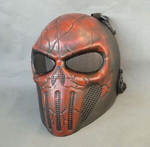Red Airsoft Paintball ABS Full Face Protection Skull Mask Simple Practical JD31