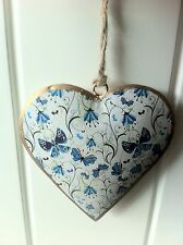 WALL HANGING METAL HEART DECORATION VINTAGE BLUE BUTTERFLY FLORAL 10CM
