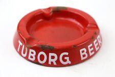 Vintage Tuborg Beer Porcelain Metal Red Cigar Cigarette Ashtray Advertising Bar