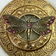 """EXTRA SUPER LARGE 3""""INCH Stamped Brass Antique & Vintage""""JUMBO DRAGONFLY"""" Button"""