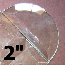 ( 4 pack ) tiny 2 inch HALF CIRCLE Clear Glass Bevel Flat on Back Beveled on Top