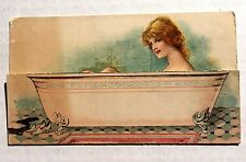 Humorous Trade Card Of Woman In Bathtub and Pull Down For Another Image