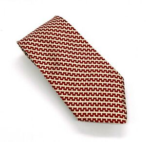 Tommy Hilfiger Gorgeous Red White Yellow Houndstooth Silk 57 x 3.75 USA New