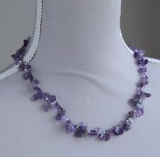 AMETHYST NUGGET NECKLACE WITH STERLING SILVER BEADS AND CLAP 19""