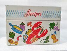 Vintage 1960's OHIO ART Metal Recipe Box Vegetables/Lobster/Steak