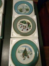 Vintage lot 1974-75-78 Avon Christmas Collector Plates ~w/Boxes Vgc